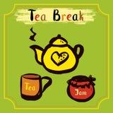 Tea break. Time , hand drawn vector illustration Royalty Free Stock Photography