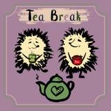 Tea break. Two hedgehog with a mug of tea, tea and jam. Hand drawn vector Royalty Free Stock Photo