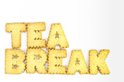 Tea Break. Typography concept made from Cookies Stock Images