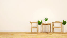 Tea break with wooden chair and coffee table-3D Rendering Stock Photography