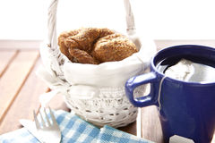 Tea breakfast. With fresh bakery, croissants Royalty Free Stock Photography