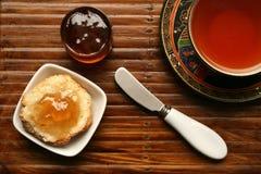 Tea breakfast over bamboo Stock Photo