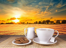 Tea breakfast wood landscape Royalty Free Stock Photos