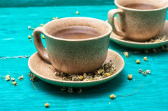 Tea brewed with chamomile in ceramic mugs Stock Photo