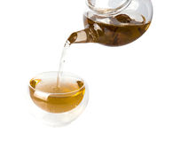 Tea is brewed in a transparent cup on a white background Royalty Free Stock Photo