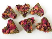 Tea bricks made of pressed green tea Stock Image
