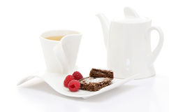 Tea with brownies and raspberries Royalty Free Stock Photography