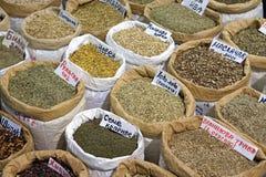 Tea in bulk. Natural tea and herbs in bulk sacks royalty free stock images