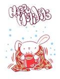 Tea bunny plaid christmas card doodle style royalty free illustration
