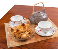 Tea and buns Royalty Free Stock Images