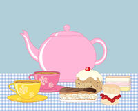 Tea and buns. An illustration of an afternoon tea spread with pink teapot two cups of tea and cream buns on a gingham tablecloth Stock Image