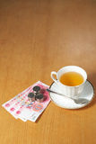 Tea bussiness. A cup of tea and some rmb on the office desk Stock Images