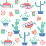 Tea and cactus  seamless pattern.It is located in swatch menu, v. Ector  illustration Stock Photography