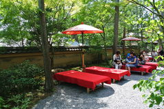 The tea cafe on the Golden Pavilion Kinkaku-ji territory. The green matcha tea cafe on the Kinkaku-ji temple territory Stock Image