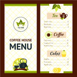 Tea Cafe Menu. Design template with drinks and snacks vector illustration Stock Photography