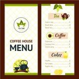 Tea Cafe Menu Stock Photography