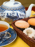 Tea and cake. Morning tea with cakes and biscuits Stock Images