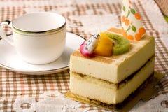 Tea and cake. Delicious afternoon tea, delicious tiramisu stock images