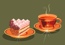 Tea and  cake. Royalty Free Stock Photos