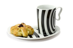Tea with cake. Cup of tea with pinapple cake on white Stock Images