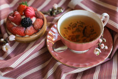 Tea and cake beautiful and delicious breakfast concept. stock photography