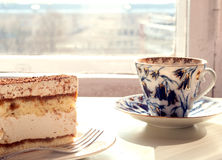 Tea with cake Royalty Free Stock Photography