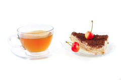 Tea, cake and cherry Royalty Free Stock Photos