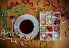Tea with cake and Christmas decoration Stock Image