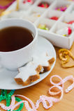 Tea with cake and Christmas decoration Royalty Free Stock Image