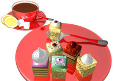 Tea and cake. Tea cup with lemons and various cakes, on red plates, 3D illustration, raster illustration Stock Image
