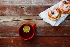 Tea with cake Stock Photos