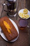 Tea, cake and lemons Royalty Free Stock Photography