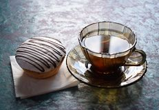 Tea with a cake. Morning tea with a cake tasty smack Stock Photography