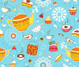 Tea Cake Seamless Background Royalty Free Stock Photo