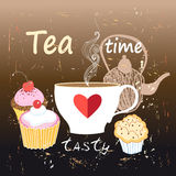 Tea and cakes with cherries Royalty Free Stock Image