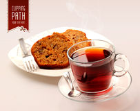 Tea and cakes with clipping path Stock Photography