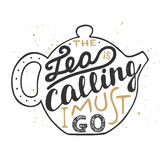 The tea is calling I must go in teapot on vintage background. Royalty Free Stock Photo