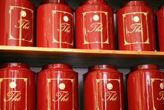 Tea can red Stock Photo