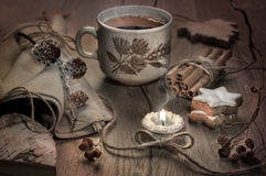 Tea, candle and Christmas cookies on decorated table, toned imag Stock Photography
