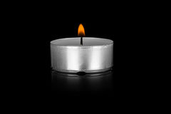 Tea candle isolated Royalty Free Stock Photo