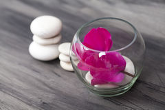 Tea candle and white spa stones Royalty Free Stock Image
