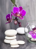 Tea candle and white spa stones Royalty Free Stock Photo