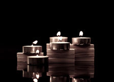 Tea Candles on Wood Blocks Royalty Free Stock Photography
