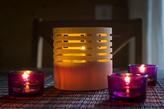 Tea candles in wood and glass Stock Image