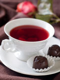 Tea with candy Royalty Free Stock Images