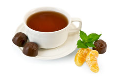 Tea with candy and mint Royalty Free Stock Photography