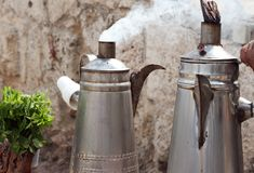 Tea cans. Two tea cans at the Ajlun Castle in Jordan Stock Photography