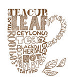 Tea cap image composed of words Royalty Free Stock Images