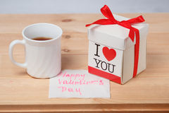 Tea, card and gift Royalty Free Stock Photo