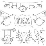Tea card. Set of elements for design. Royalty Free Stock Images